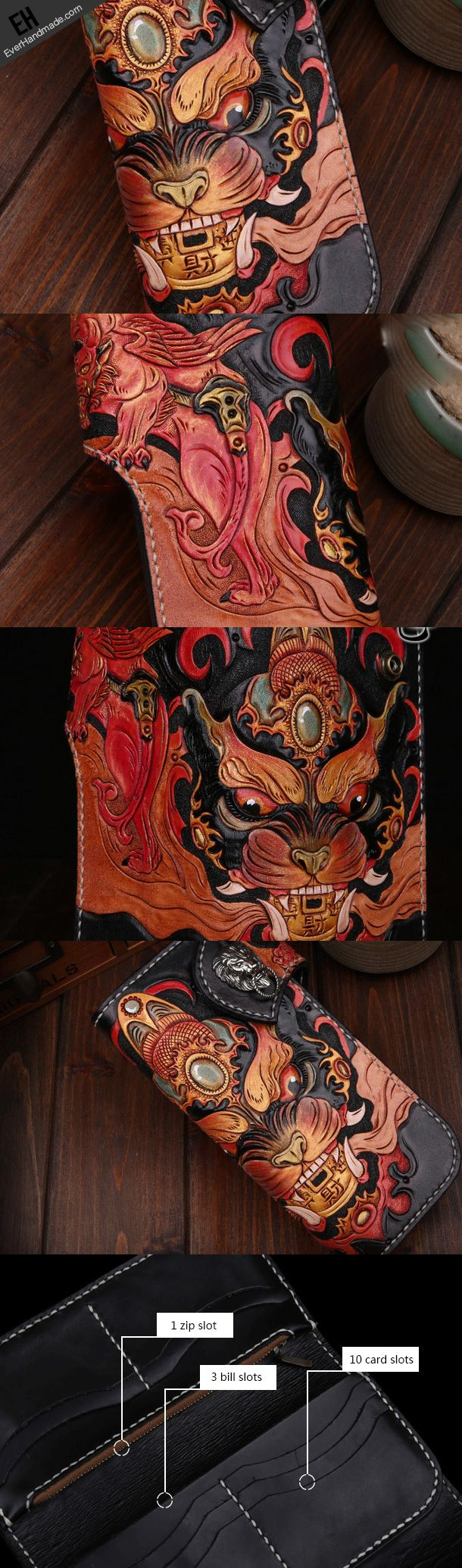 Handmade leather biker trucker wallet leather chain men Black Carved Tooled wallet