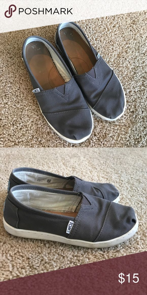 Youth gray Toms slip ons Youth gray Tom slip on shoes Toms Shoes Sneakers