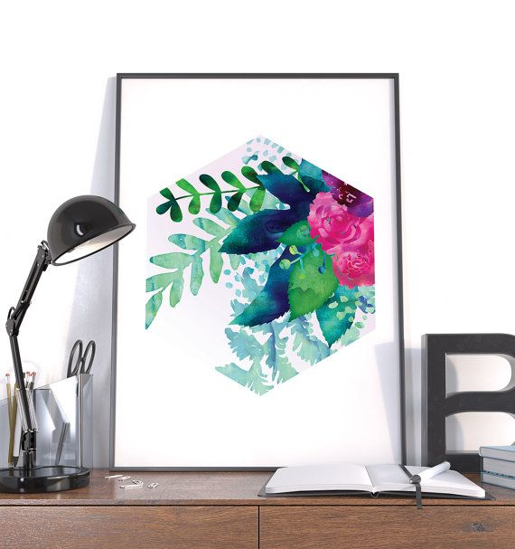 Large Modern Print, Watercolor Flowers, Geometric Background