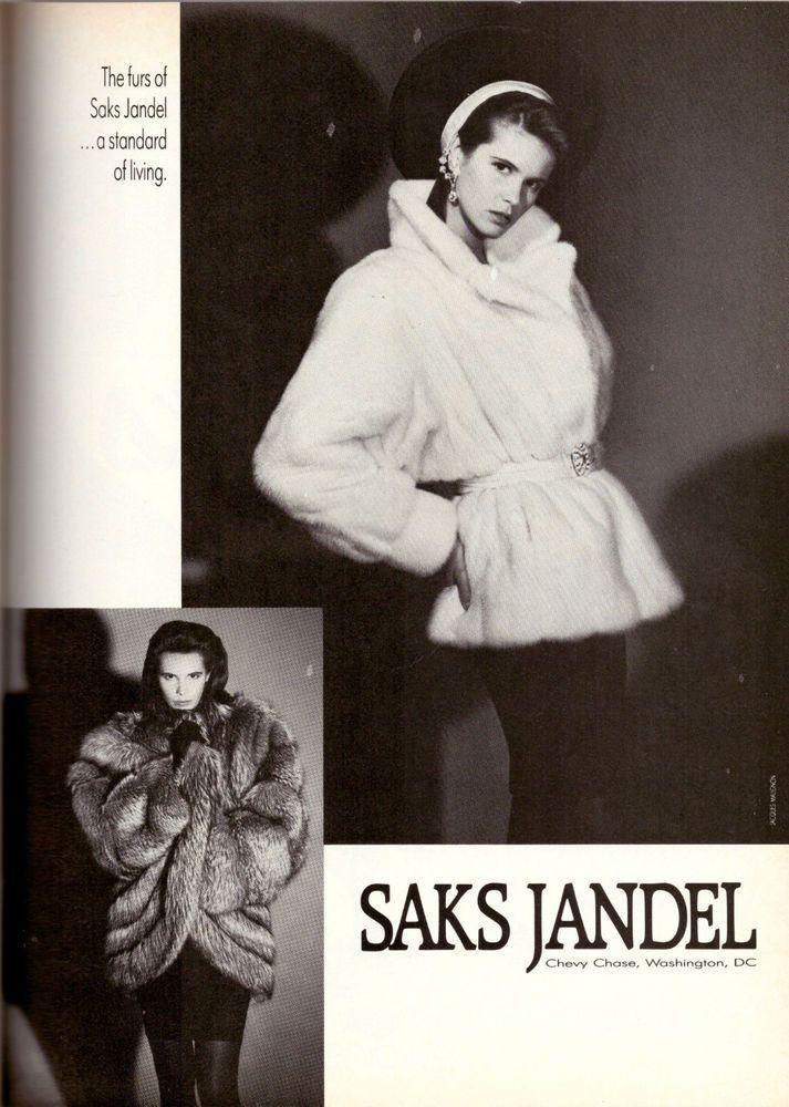 1987 Elle Macpherson Saks Jandel Furs Fashion Advertisement Ad Vintage VTG 80s | eBay
