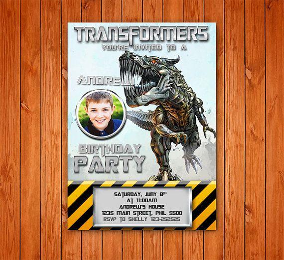 8 best transformers birthday invitation images on pinterest dinobot transformers birthday card customized birthday theme birthday invite card template diy bookmarktalkfo Choice Image