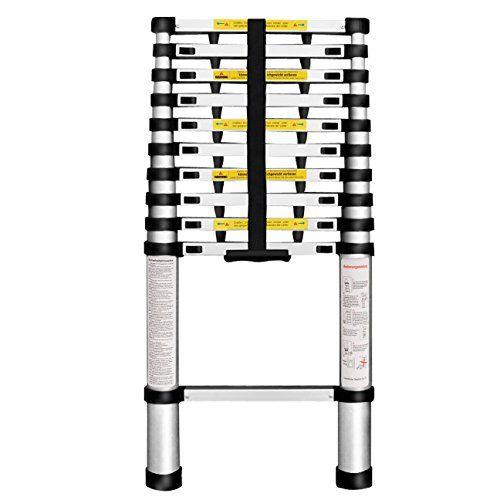 Finether 3.2M Teleskopleiter mit Fingerklemmschutz ausziehbare Leiter Aluleiter Ausziehleiter Anlegeleiter aus hochwertigem Alu Teleskop-Design 150 kg Belastbarkeit