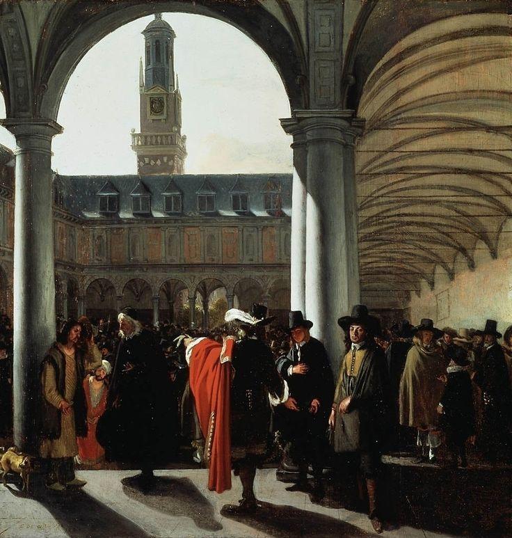 Emanuel de Witte - De binnenplaats van de  in 1609 opgerichte Beurs van Amsterdam.