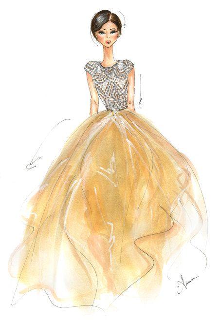 Fashion Illustration Print Naeem Khan FW13 by anumt on Etsy, $25.00