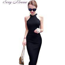 Женщины Длинные вязание Dress 2016 Весна Sexy Тонкий Bodycon Платья Эластичный Тощий Сплит Dress Краткое Холтер Черные Платья vestidos(China (Mainland))