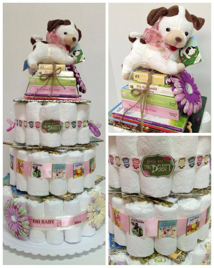 Little Golden Book themed diaper cake, complete with lots of books for baby & a plush Poky Little Puppy on top!