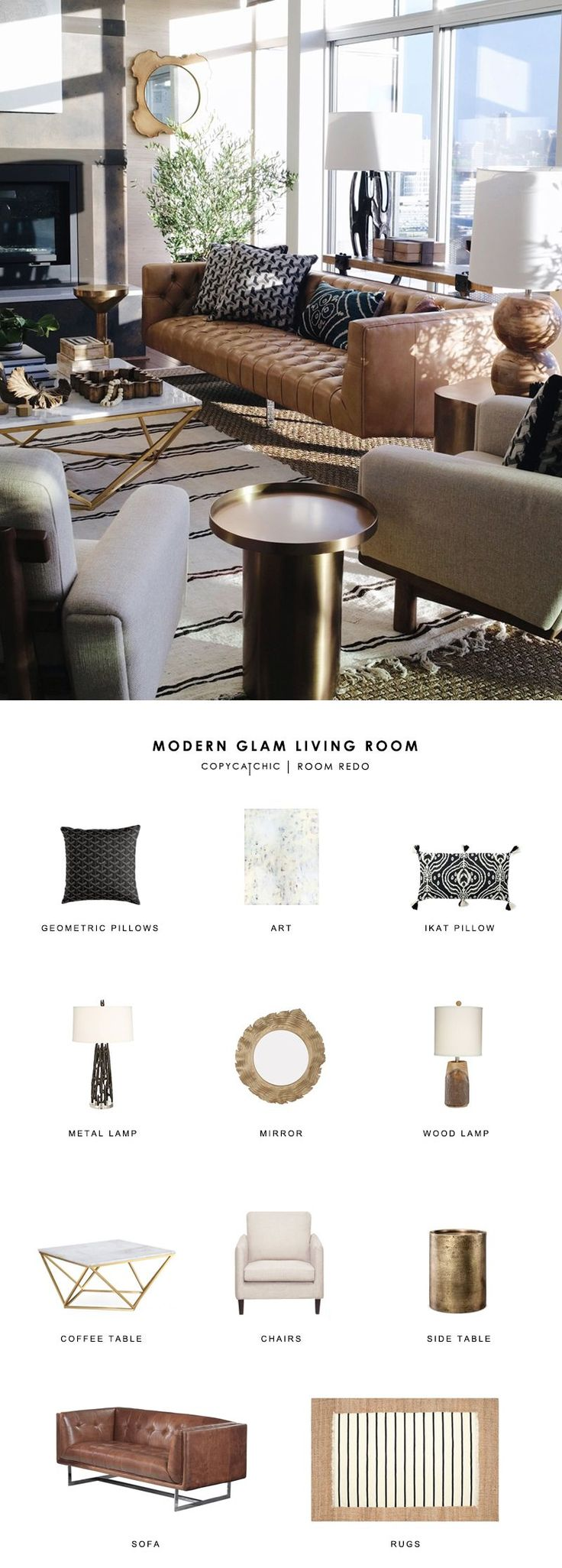 Copy Cat Chic Room Redo | Modern Glam Living Room