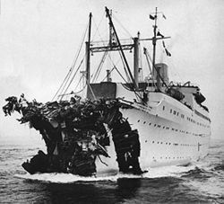 This is the damaged prow of the SS Stockholm after it collided with the ocean liner SS Andrea Doria in 1956. The Andrea Doria capsized and sank, killing 52 people.