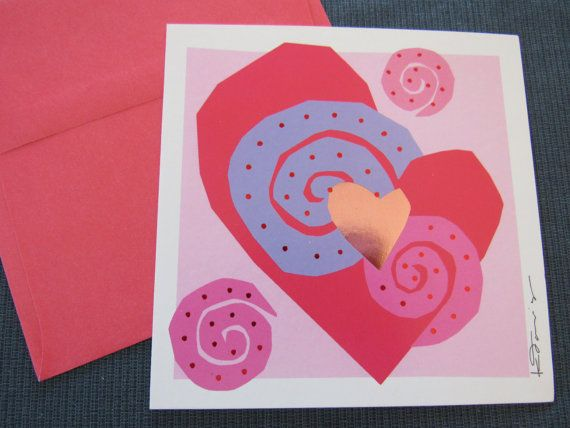"""Unused Vintage Heart Beats """"Consider Yourself Hugged"""" MOD Hearts Happy Valentine's Day Wish Greeting Card with Envelope Retro Kathy Davis"""