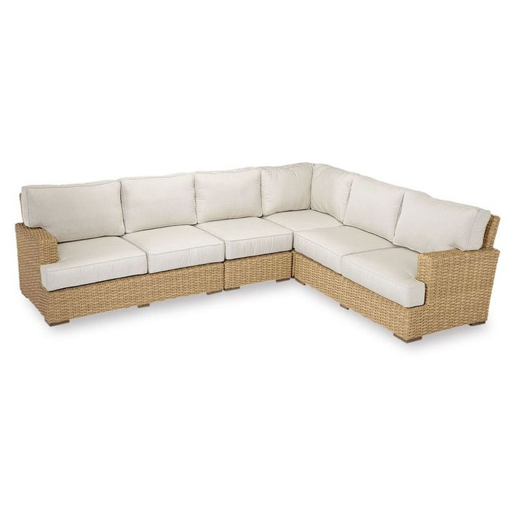 Outdoor Sunset West Leucadia Aluminum Sectional Sofa With Cushion Spectrum  Mist   2601 SEC