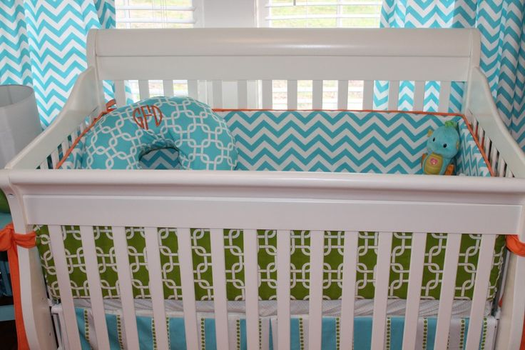 Project Nursery - Bright and Modern Orange, Turquoise, Gray Nursery Chevron Bedding. Love the monogrammed pillow cover.: Crib Bedding, Baby Idea, Baby Baby, Boy Nursery, Nursery Ideas, Baby Room, Cribs, Baby Boy, Kid
