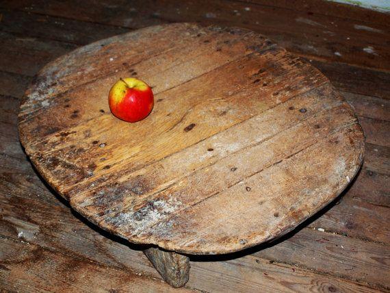 antique primitive rustic wooden round dining table 1800s 1900s room kitchen home decor primitive table - Primitive Kitchen Tables