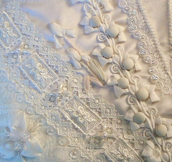 I ❤ crazy quilting . . .   Kathy S., AL, USA- Speechless. An almost unbearably beautiful all-white block by Kathy S of Alabama, USA.