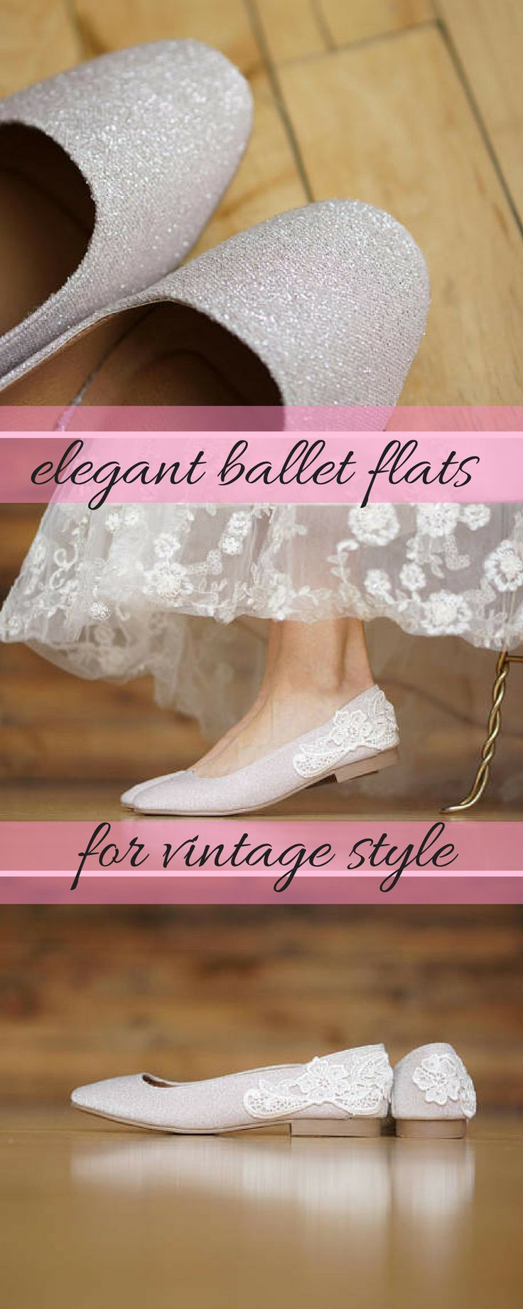 Champagne Shimmer ballet flats are perfect for tea length dresses or for the moment when you kick your heels of and shimmy to the dancefloor. #weddingshoes #balletpumps #vintagestylewedding #weddingshoeswithlace #ad