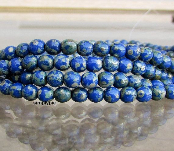 Cobalt Silver Picasso Czech Round Beads 4mm 50 Beads by simplypie