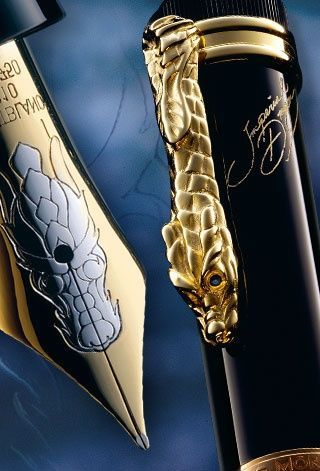 Mont Blanc Imperial Dragon Limited Edition 888 fountain pen, with 18 karat gold nib and sapphires in the dragon's eyes. Of course they only made 888 of these pens