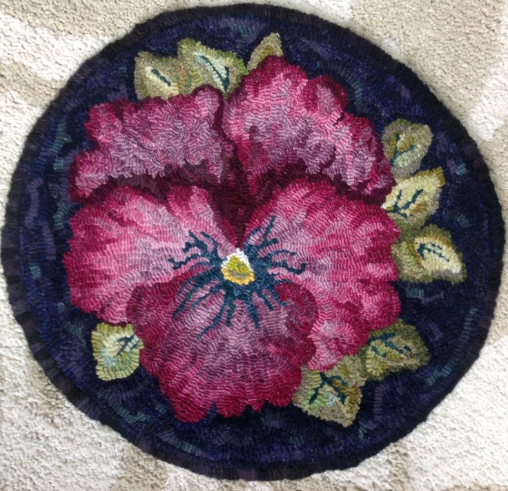 pansy chair pad_hooked by AnnK