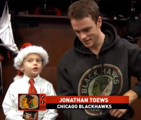Joey the Junior Reporter Tells Jonathan Toews that he is going to get coal in his stocking because he got a speeding ticket. #Blackhawks.