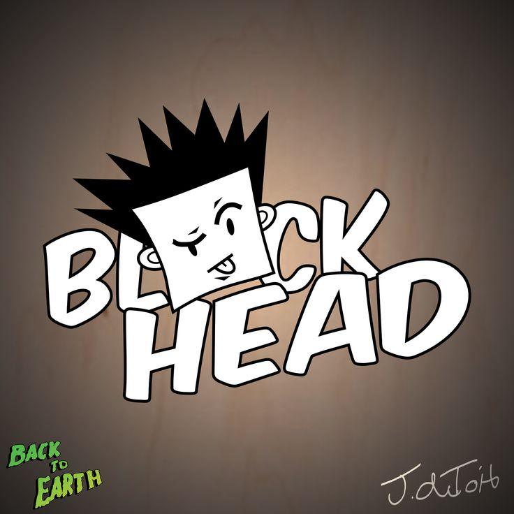 BlOck Head - Mascot plus name Logo