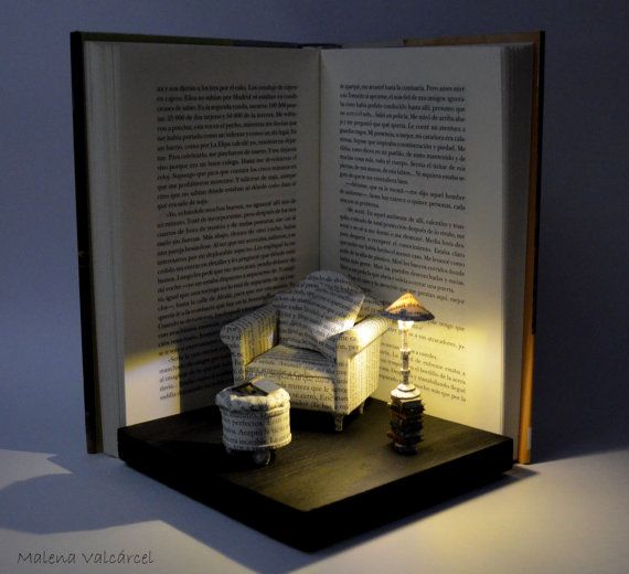 Love this  Book Paper Diorama with light  by artist MalenaValcarcel, On sale on Etsy for $631.