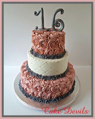 Rockland County Custom Cakes Rosette Sweet 16 Cake Dusty Rose Quilted Orange Ny