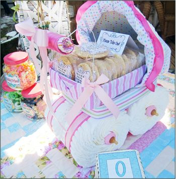 Diaper Baby Carriage Tutorial ~ Cute Centerpiece... fill with Cookie Favors!