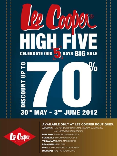 Lee Cooper High Five! Discount up-to 70% all items in all stores in Indonesia.