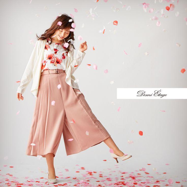 ルーズ感×トレンドカラーのモーブピンクで優しい色味のふんわりコーデ♪ #juri_coordinate #大人カジュアル #demi_etage #ドゥミエタージュ #ootd #fashion #spring #春コーデ #フェイクアンサンブル #ガウチョ #ピンク #花柄 #大人女子