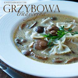 Zupa grzybowa ze świeżych grzybów zabielana śmietaną (Polish Pasta and Mushrooms Soup)