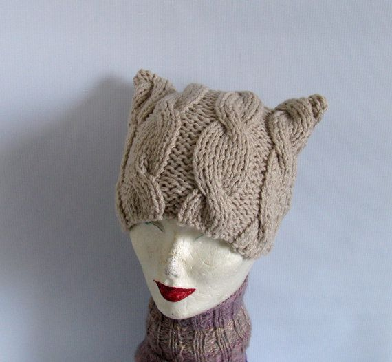 Cat Ear Beanie Cat Hat Cat Beanie Cat Ear Hat Cat by recyclingroom, $25.00