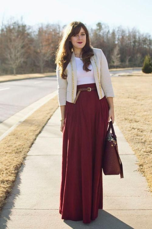 maroon maxi skirt with cardigan,How to style your maxi skirt in winter http://www.justtrendygirls.com/how-to-style-your-maxi-skirt-in-winter/