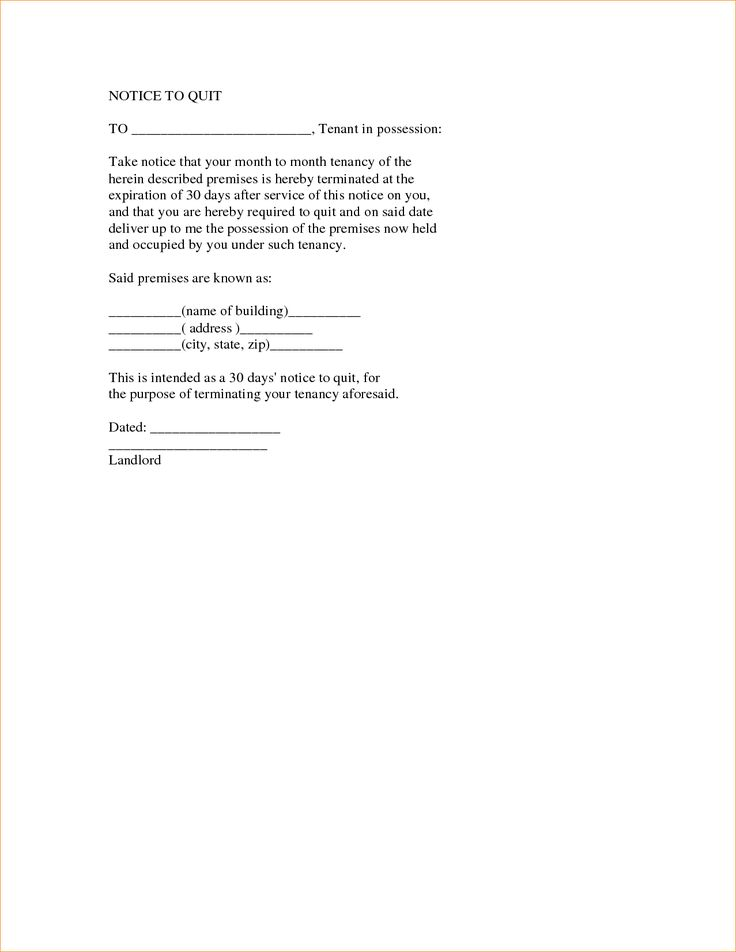 sample notice quit weekly sign sheet template weeks letter format - notice to quit template