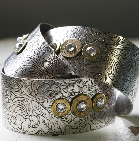 Bullet Bracelet Antique Silver Etched Cuff Handmade - The Well Armed Woman