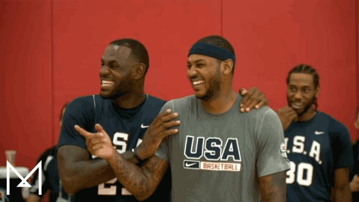New trendy GIF/ Giphy. funny sports nba basketball laughing usa humor lebron james usa basketball carmelo anthony king james melo making fun of stayme7o national basketball league teamme7o. Let like/ repin/ follow @cutephonecases