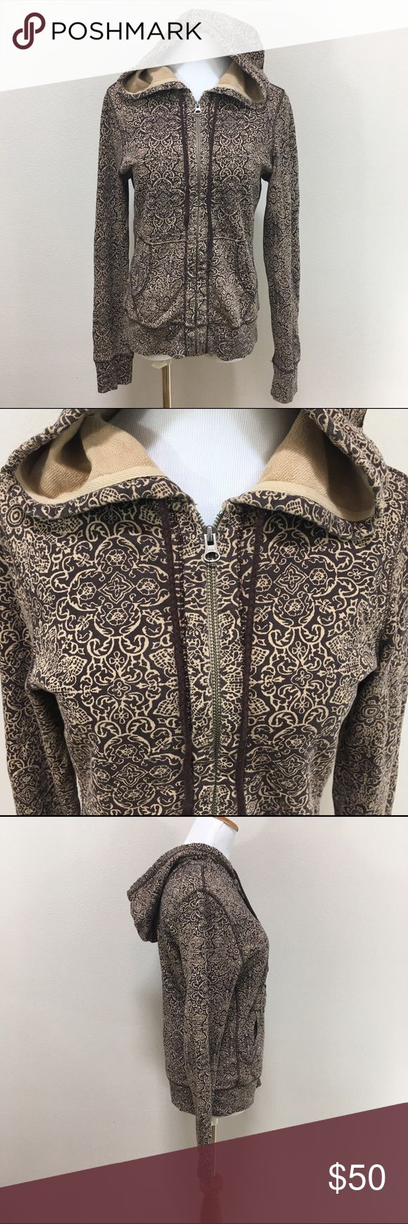 John Robshaw Lucky Brand Floral Hoodie Medium John Robshaw Lucky Brand Brown Floral Hoodie Sweatshirt Cotton Women's Medium. Excellent condition! Dark brown pattern. Clean and comes from smoke free home. Questions welcomed! Lucky Brand Tops Sweatshirts & Hoodies