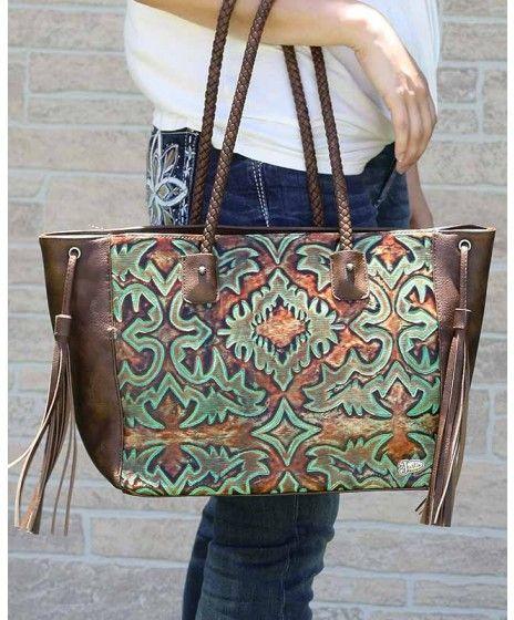 Justin Concealed Carry Dark Brown & Turquoise Embossed Handbag with Fringe