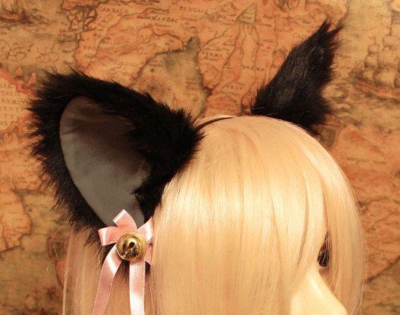 Black CAT MOVABLE ears  inner Grey HEADBAND w / w/o Ribbon n Bell, kitty cat ears headband hairband , Cosplay Costume Party Halloween