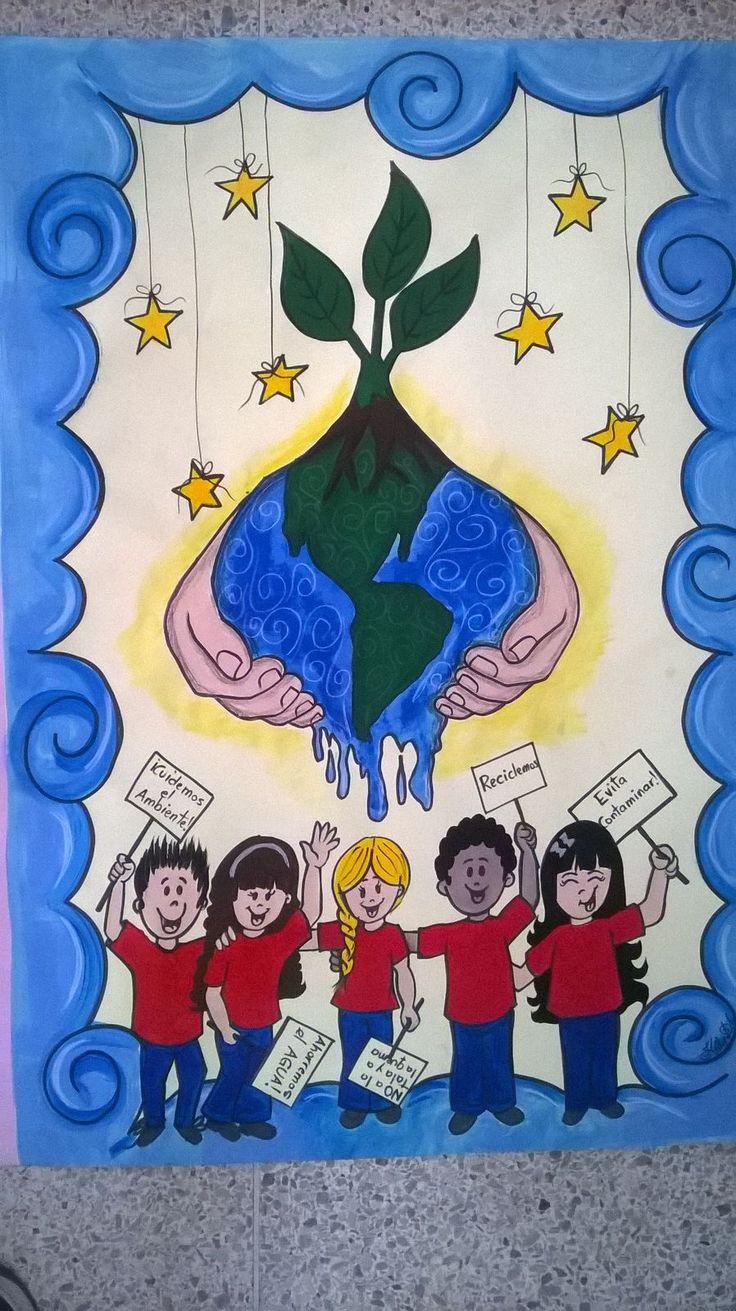 Cartelera escolar sobre la Conservación del Ambiente. Diseño, idea, dibujo y diagramación: Kelly Carrillo Sánchez.