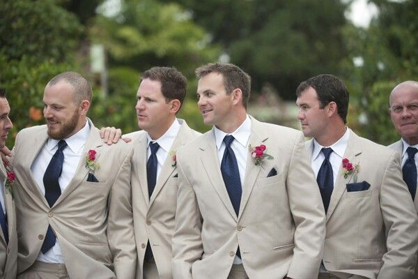 Groomsmen khaki, beige with navy blue #UnlimitedRomance