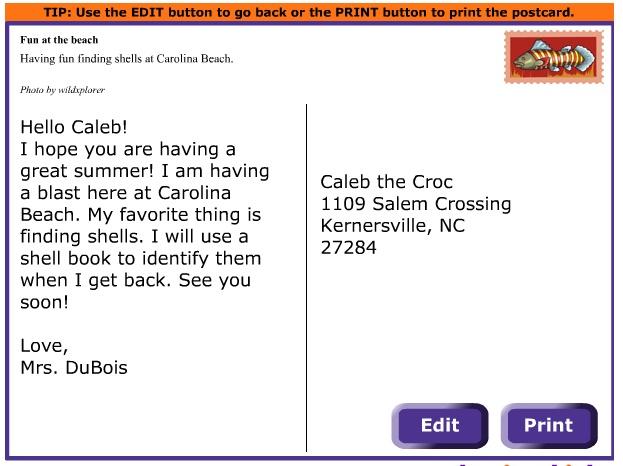 Caleb's Creek Media Matters--postcard maker activity. super cool.