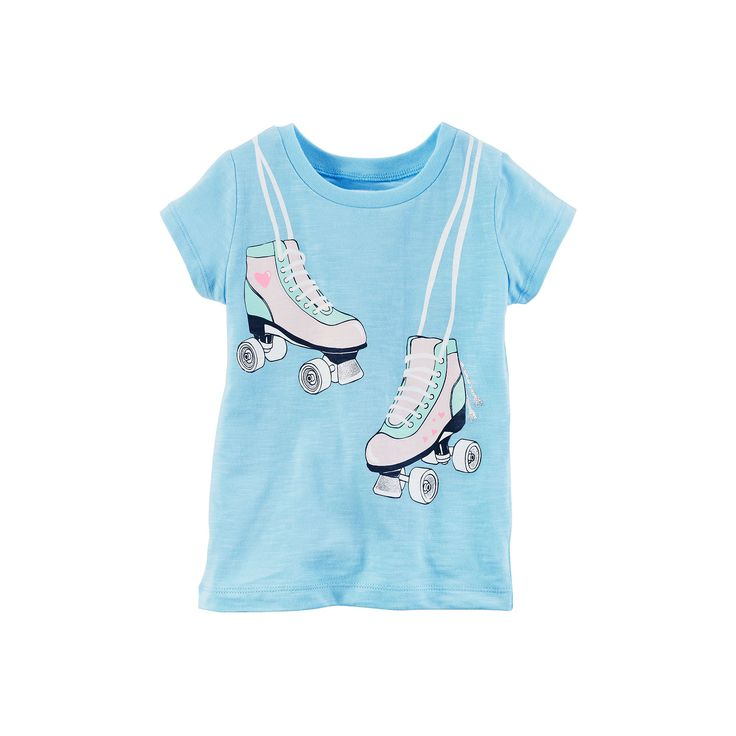 Baby Girl Carter's Roller Skates Glitter Graphic Slubbed Tee, Size: 24 Months, Light Blue