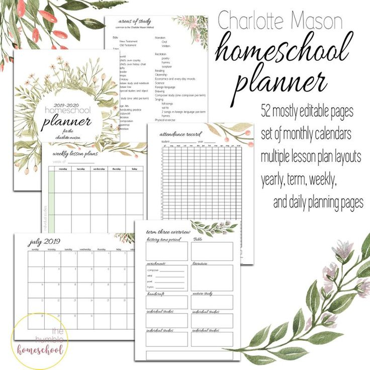 2019-2020 Charlotte Mason Homeschool Planner Bearbeitbar | Etsy   – Homeschool tools and helpers