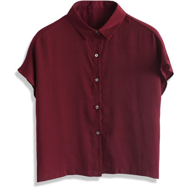 Chicwish Wine Silky Cropped Shirt ($36) ❤ liked on Polyvore featuring tops, red, button up crop top, polyester shirt, red top, red button down shirt y red button up shirt