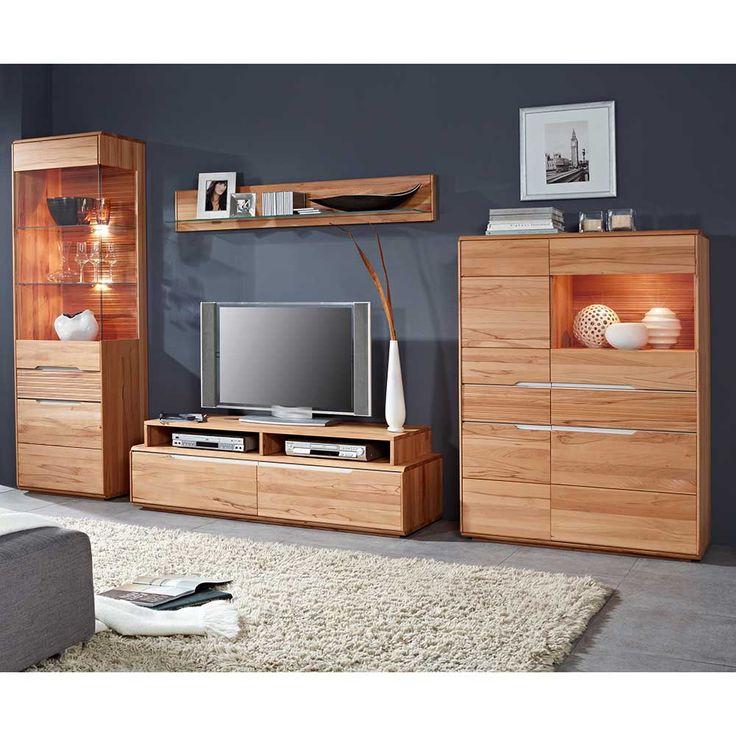 tv anbauwand aus kernbuche massiv beleuchtung 5 teilig wohnzimmerschrankschrankwandwohnwand - Wohnwand Holz