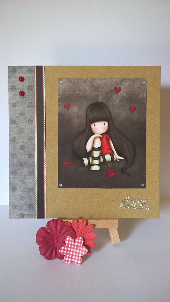 Handmade sitting girl in red dress birthday card by Lazymitts