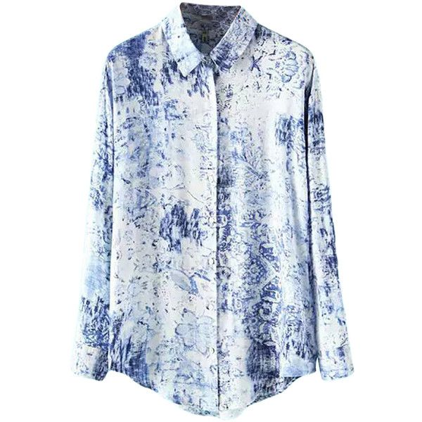 Blue and White Porcelain Printed Ladies Long Sleeve Cotton Blouse (1.200 RUB) ❤ liked on Polyvore featuring tops, blouses, shirts, blue, blue and white shirt, long-sleeve shirt, blue blouse, blue white shirt and long sleeve cotton shirts