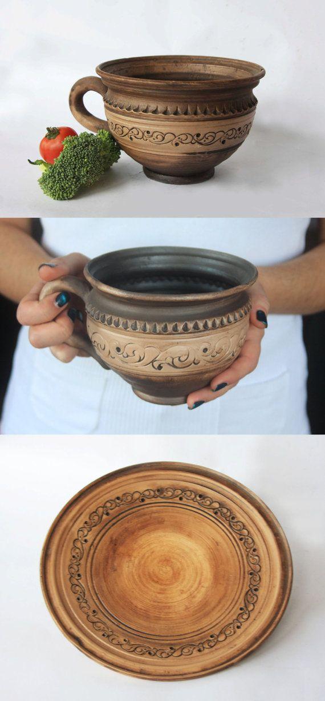 Extra large ceramic cup Soup mug Redware soup by SmilingAlligator