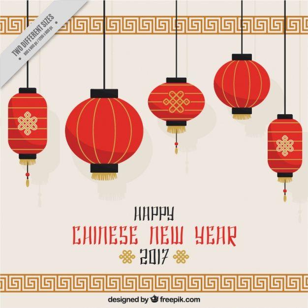 Китайский новый год фон с навесными фонарей Бесплатные векторы