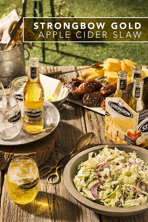 Crunch on this simple & easy apple slaw using Strongbow Gold Apple Hard Cider. This gluten free recipe uses fresh Napa cabbage, Tuscan kale, and crisp green apples, and makes a great side for your summer BBQ or picnic. Wash it all down with a chilled Strongbow Gold Apple over ice.