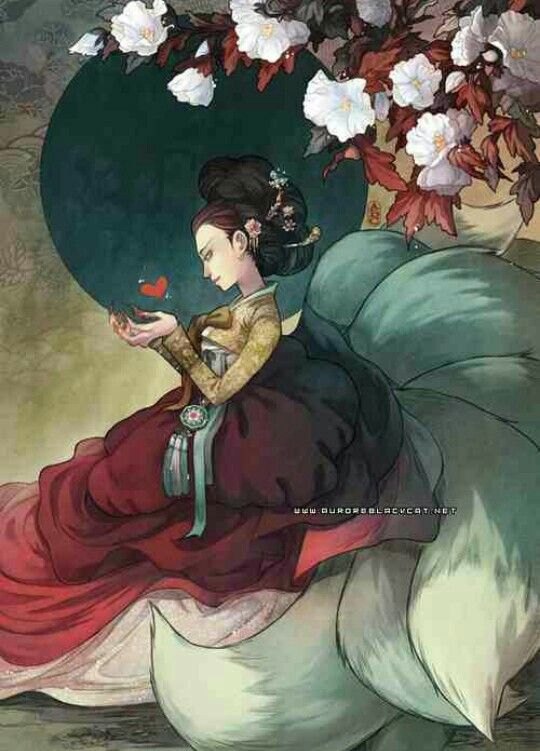 kumiho (Korean nine tail fox) said to be foxes who have lived for a thousand…
